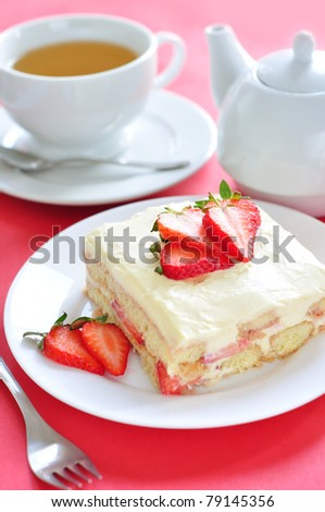Tiramisu with strawberry - stock photo