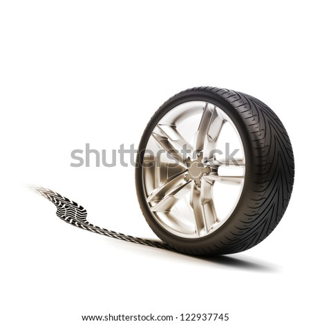 Tire and rim with tread on a white background.