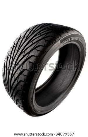 Tire isolated over white background - stock photo