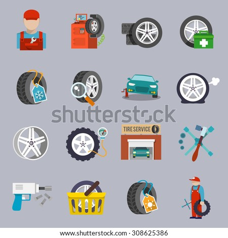 Tire service car auto mechanic repair icons flat set isolated  illustration
