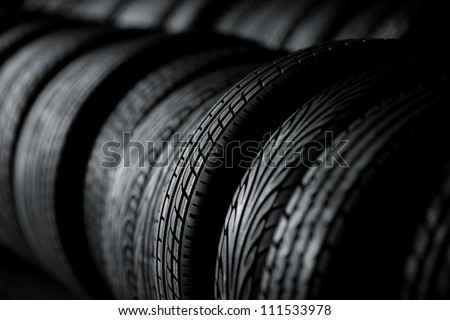 Tire stack background. Selective focus.