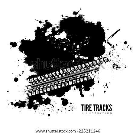 Tire track background in black and white style - stock photo