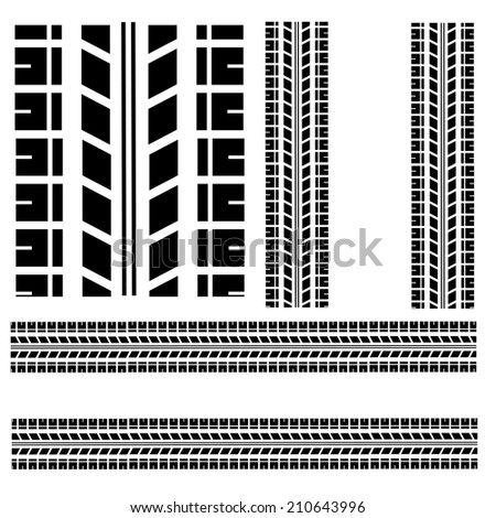 Tire track isolated on white background. - stock photo