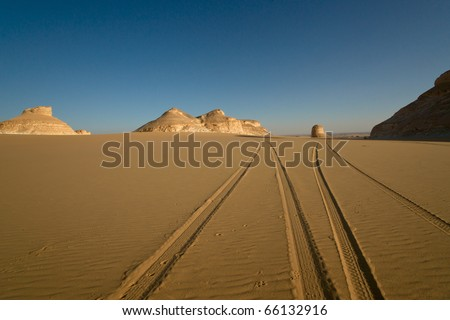 Tire track on Sand - stock photo