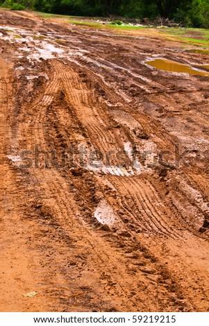 Tire tracks adventure - stock photo