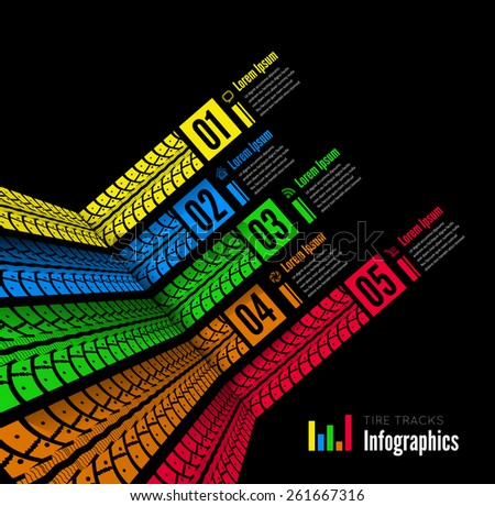 Tire tracks infographics background - stock photo