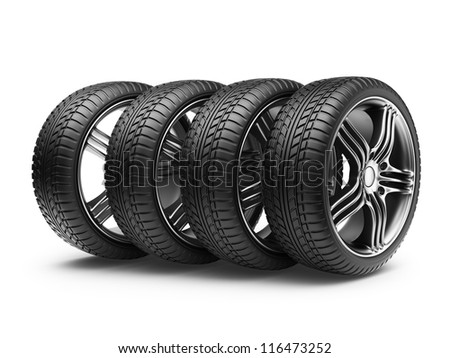 Tire with metal wheel. 3D Icon isolated on white background - stock photo