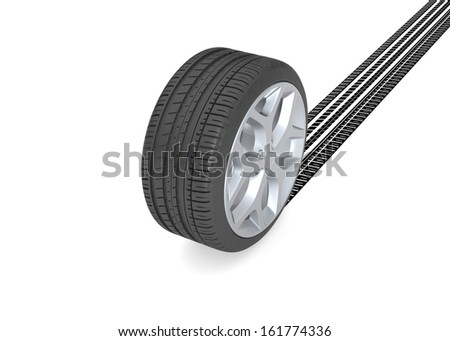 Tire with track on white - stock photo