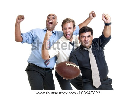 Tired  and beaten up businessman supporting a rugby team - stock photo