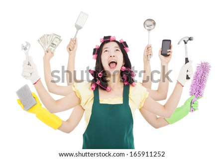 tired and busy woman with multitasking concept - stock photo