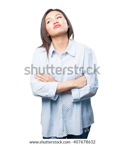 tired asian woman - stock photo