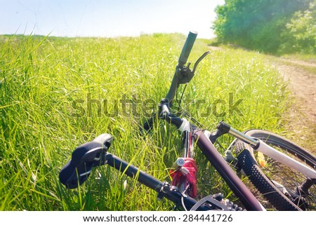Tired bicycle lying in the grass at the roadside - stock photo