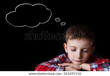 Tired,Bored, little boy  .Facial expression,Sport.Sleeping. - stock photo