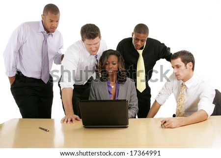 Tired business team working at laptop. - stock photo