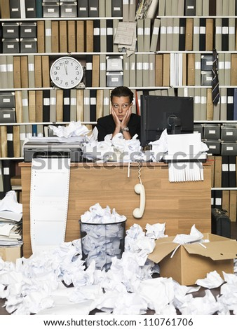 Tired Business woman at the office - stock photo