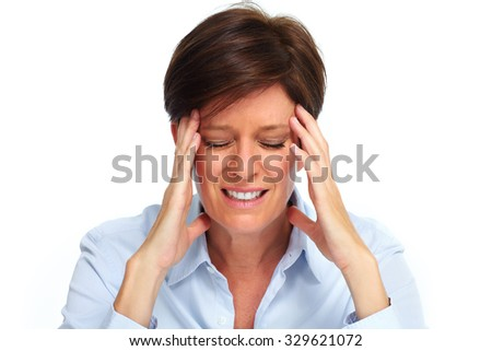 Tired business woman with headache migraine over white - stock photo