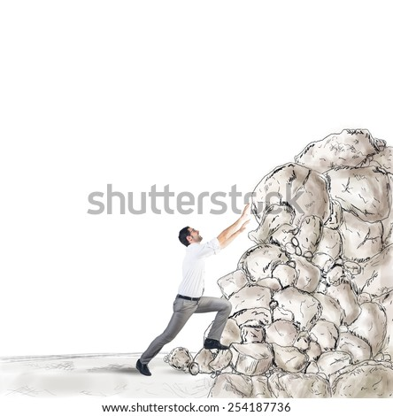 Tired businessman struggling to climb the success - stock photo