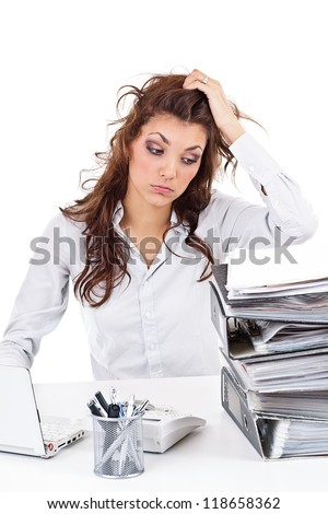 Tired businesswoman with paperwork - stock photo