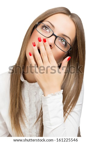 Tired businesswoman yawning looking up - stock photo