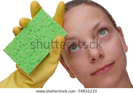 Tired Cleaning Lady - stock photo