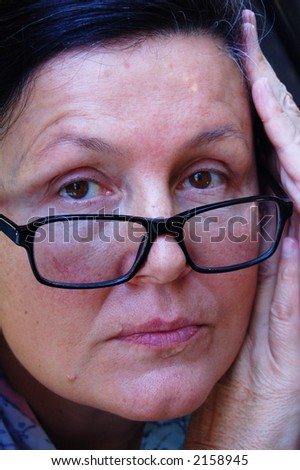 Tired expression 3 - stock photo