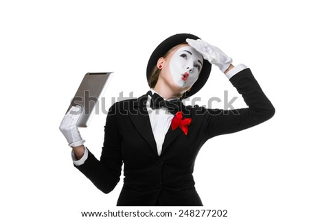 tired from work business woman in the image mime holding tablet PC isolated on white background - stock photo