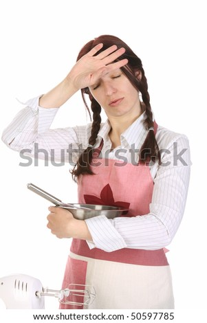 tired housewife preparing with egg beater on white  background