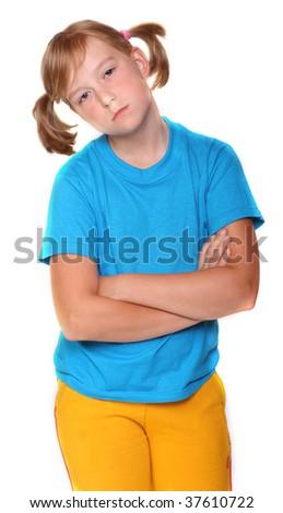 Tired little schoolgirl - stock photo