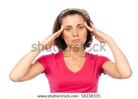 Tired pretty girl with a headache - stock photo