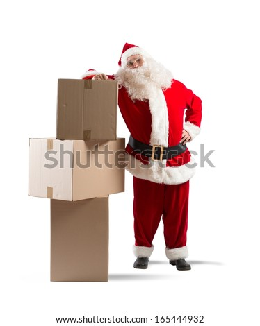 Tired Santa Claus courier with some pack - stock photo