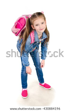 Tired schoolgirl with heavy backpack isolated on a white background