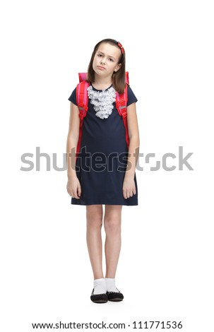 Tired schoolgirl with the briefcase, isolated, white background