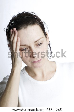 tired woman with headache - stock photo