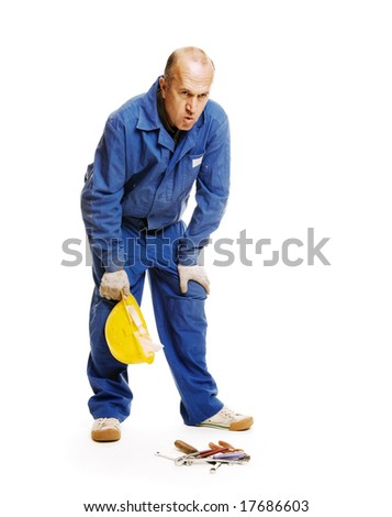 tired worker. isolated on white - stock photo