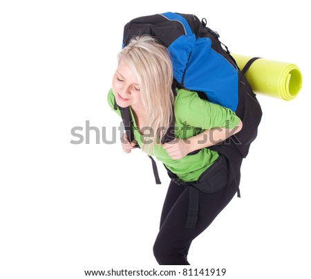 tired young female tourist with backpack