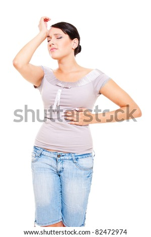 tired young woman have a pain. isolated on white background - stock photo