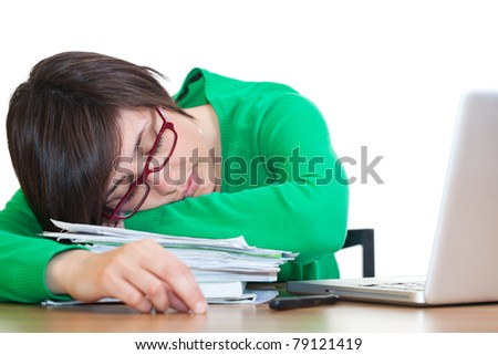 Tired Young Woman Sleeping at Work