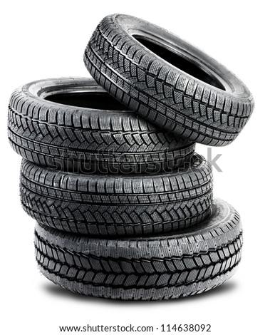 tires on the white background - isolated - stock photo