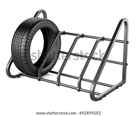 Tires set for sale at a tire store. 3d image isolated on a white background.