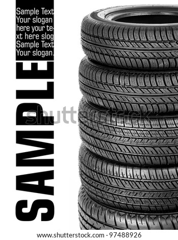 Tires stacked up and isolated on white background - stock photo