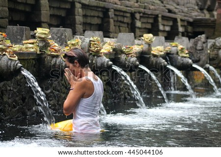 Tirta Empul Temple in Bali famous for its holy purifying water