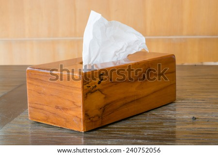 Tissue box on the table. - stock photo