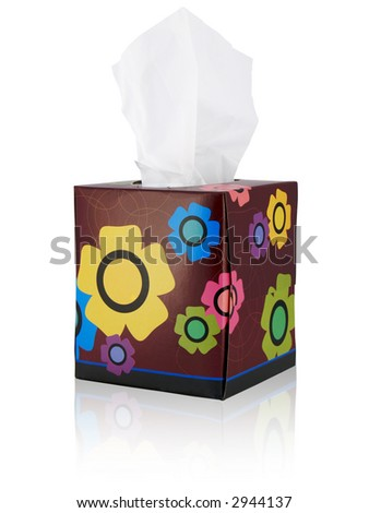 Tissue box with flowers; isolated with reflection - stock photo