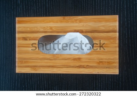 Tissue paper box made by wood - stock photo