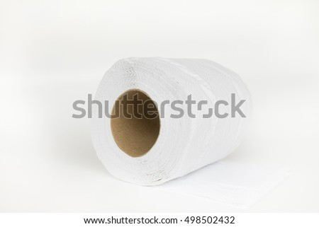 Tissue paper or Toilet paper with empty brown roll.