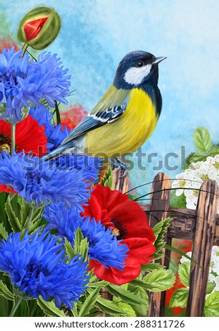 Tit bird on a background of blue flowers blooming cornflowers and red poppies - stock photo