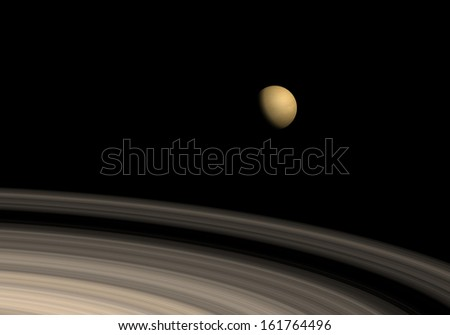 Titan and saturn rings - stock photo