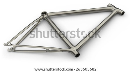 Titanium bike frame isolated on white - stock photo