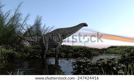 titanosautus in swapm waters - stock photo