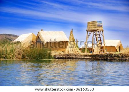 Titicaca lake Peru. tortora islands - stock photo